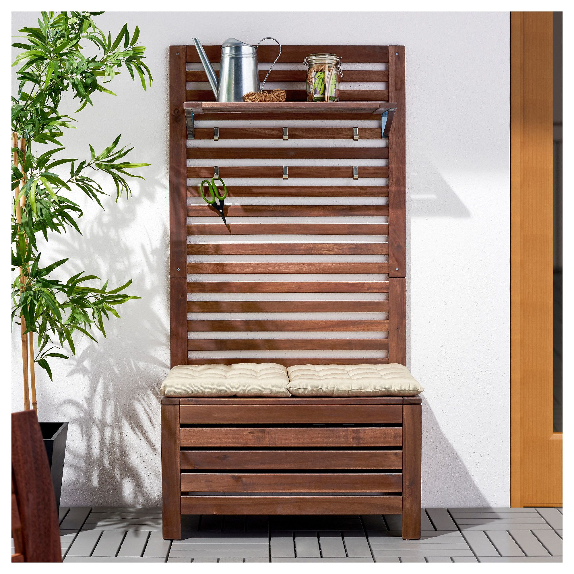 Salon De Jardin Bois Ikea Ikea ÄpplarÖ Bench W Wall Panel Shelf Outdoor Brown Stained