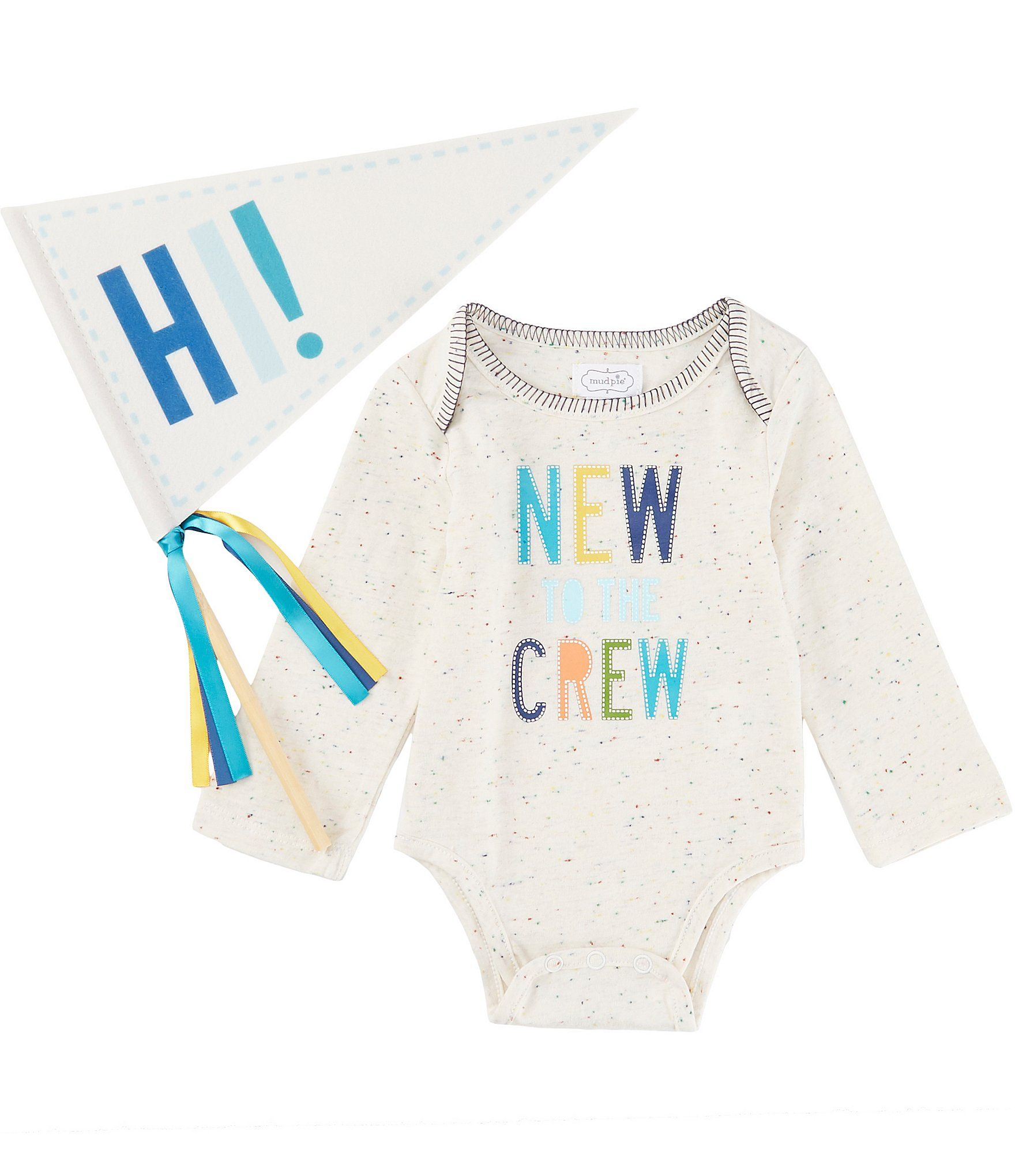 Photo of Mud Pie Baby Boys Newborn-6 Months Long-Sleeve New To The Crew Bodysuit | Dillard's