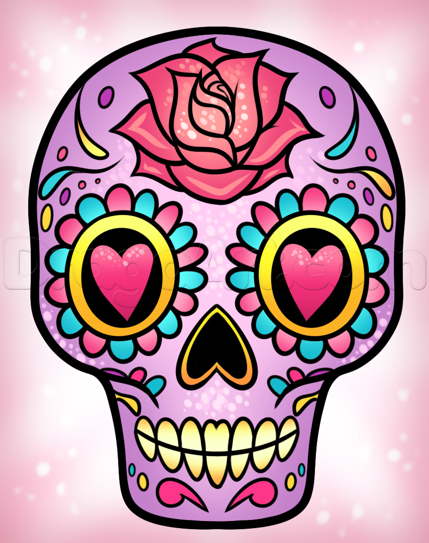 How To Draw A Sugar Skull Easy Step By Step Skulls Pop Culture Free Online Drawing Tutorial Added By D Skulls Drawing Sugar Skull Painting Sugar Skull Art