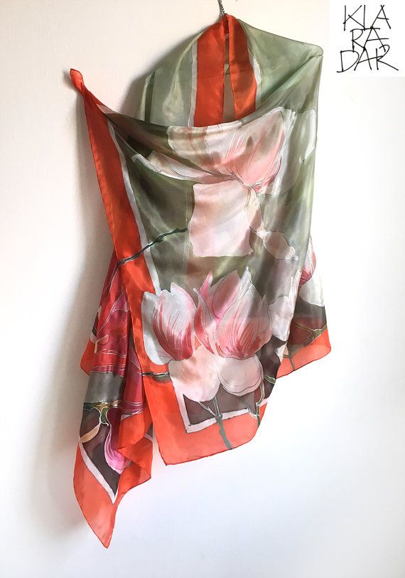 Hand painted silk scarf- Lagoon Magnolias/ Gray green scarf painted/ Long floral shawl, Silk painting, Magnolia shawl, Unique handmade gift Charming Floral Scarf in Blue Gray and Pale Pink. Luxury gift for women. Fashionista gift. Women accessory in green gray and red. Designer scarf by