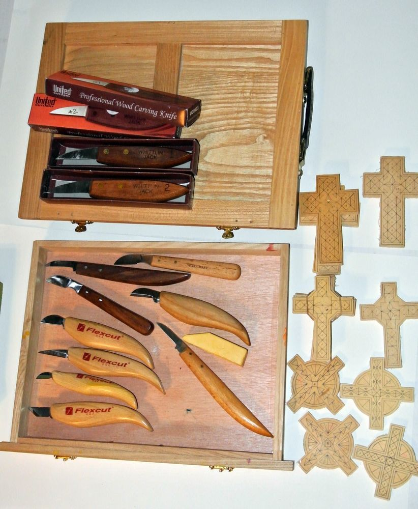 Lot of wood chip carving knife tools case and printed crosses