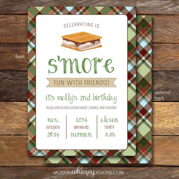 Smores Party Birthday Invitation Plaid Bonfire Gender Reveal Bridal Shower