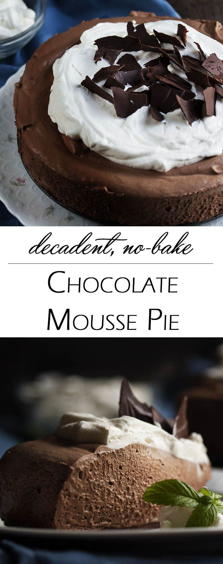 Dark Chocolate Mousse Pie - Dark chocolate whipped up into a creamy mousse layered over a crisp cookie crust and topped with mounds of whipped cream. Yum!   justalittlebitofbacon.com