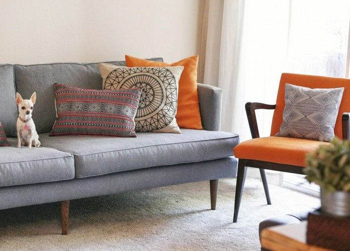 Preston Sofa Couch Accent Pillows Couch Accents Grey Mid Century Modern Sofa