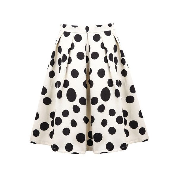 cbd904eaa91 White Polka Dot Pleated Skirt ( 22) ❤ liked on Polyvore featuring skirts