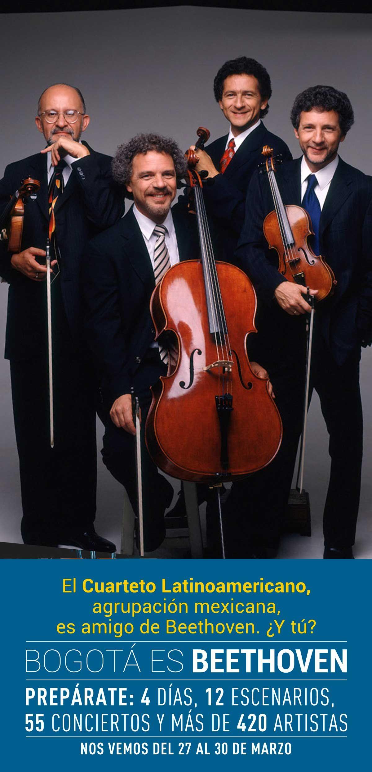 El Cuarteto Latinoamericano, conjunto de cuerdas mexicano, es amigo de Beethoven... ¿Y tú?.  Por su contribución a la vida cultural de Pittsburgh y Toronto, sus alcaldes declararon el 'DÍa del Cuarteto Latinoamericano', pero no tendrás que esperar a viajar a Toronto para verlos; busca sus conciertos del 1er Festival Internacional de Música de Bogotá, Colombia 2013. ¡Nos vemos del 27 al 30 de marzo en Bogotá es Beethoven!
