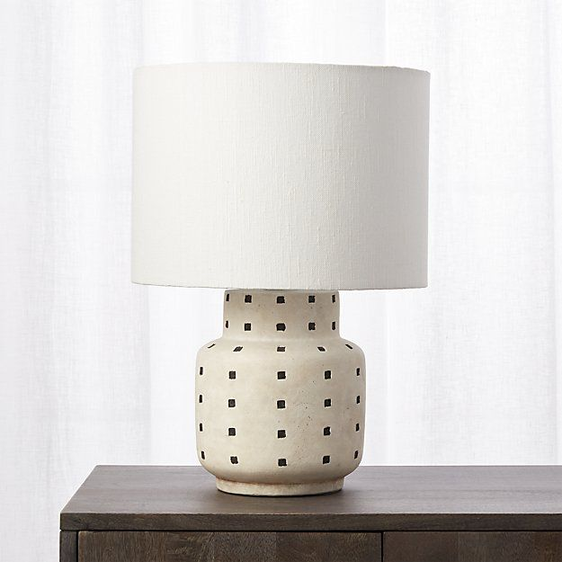 Cb2 grid black and white polka dot table lamp mid century lights and apartments