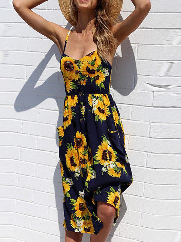 Black Spaghetti Strap Button Placket Sunflower Print Midi Dress Choies Com Floral Beach Dresses Summer Dresses For Women Summer Dresses [ 1500 x 1125 Pixel ]