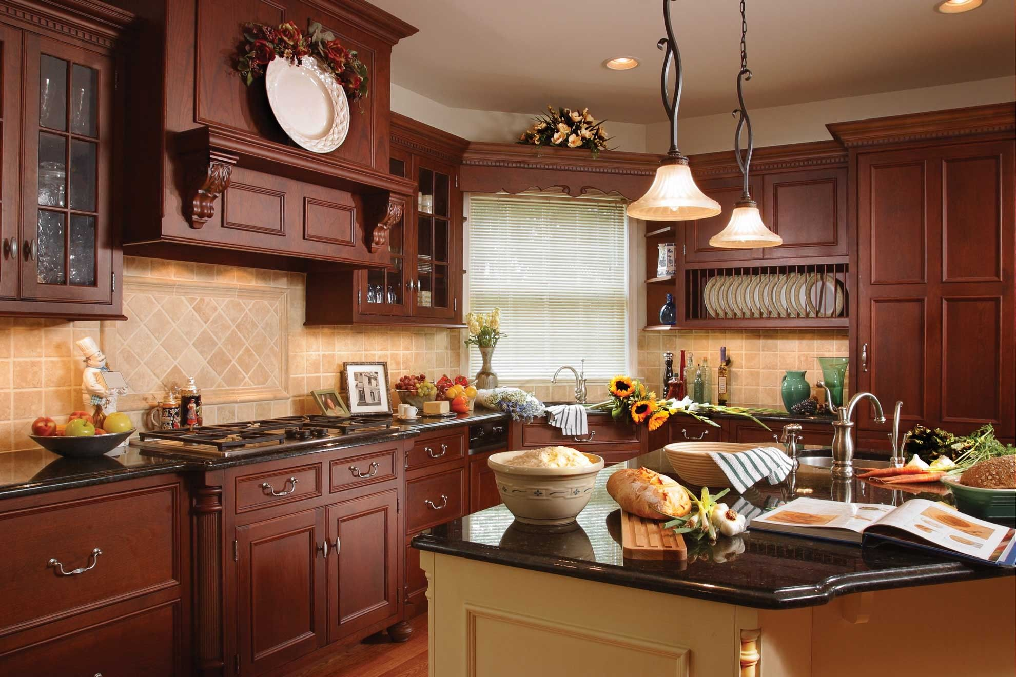 Wonderful Traditional Kitchen Blue Stained Wall White ... on Traditional Rustic Decor  id=27466