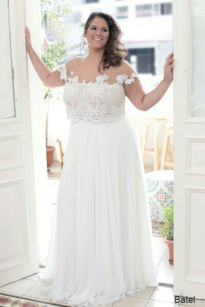 Plus size boho crop top wedding dress. Perfect for destination ...
