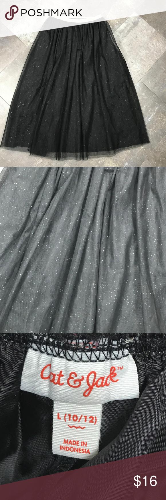 cfe6c24110 Layered Black Tulle Skirt Gold Glitter Cat & Jack tulle skirt Two layers of black  tulle