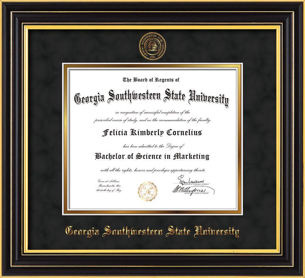 GA Southwestern State U Diploma Frame-Satin Black-Seal-Black Suede ...