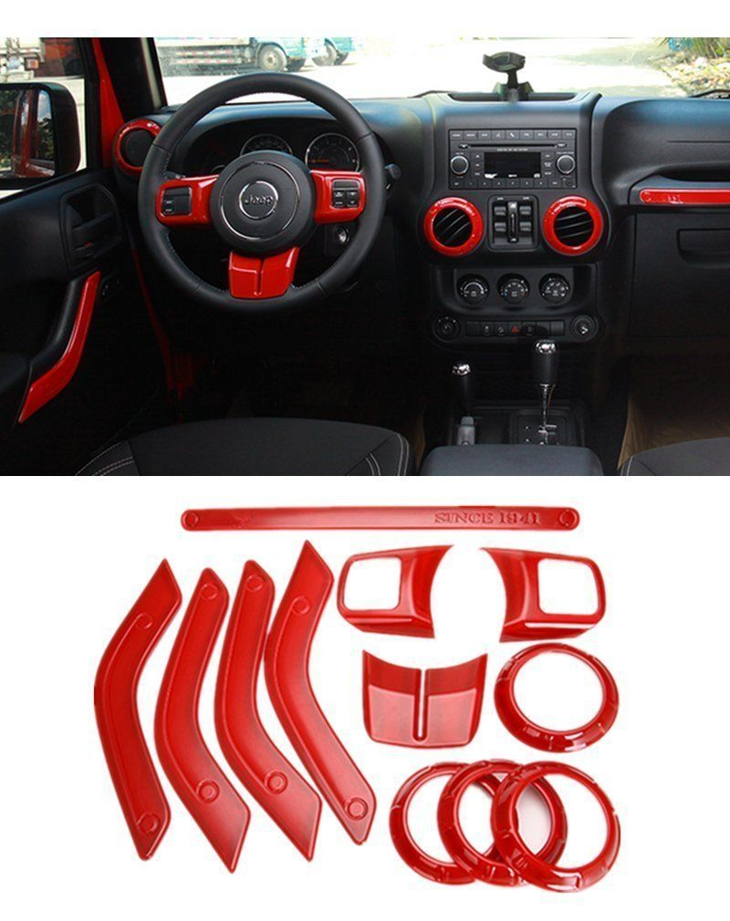 Amazon Com E Cowlboy Full Set Interior Decoration Trim Kit Including Steering Wheel Trim Centrer Conso Jeep Wrangler Accessories Jeep Interiors Jeep Wrangler