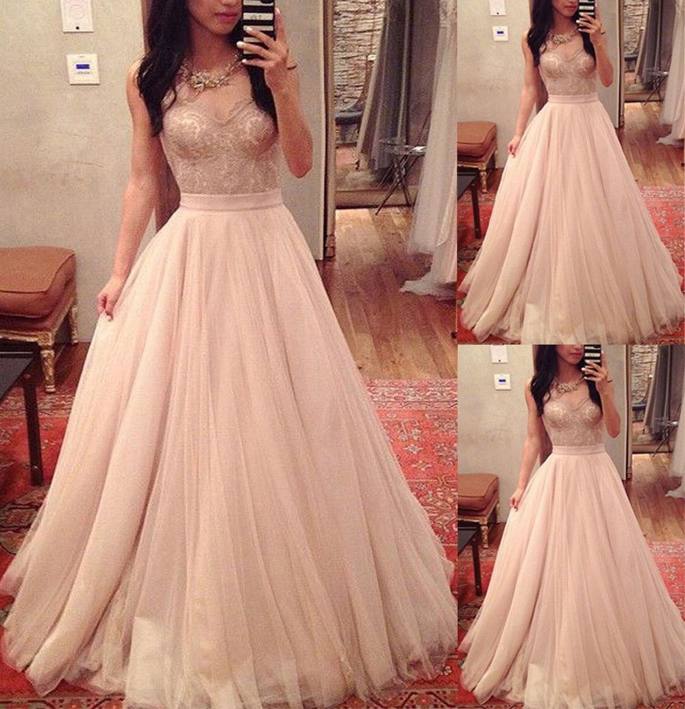 Blush lace quinceanera prom dress wedding evening party vintage