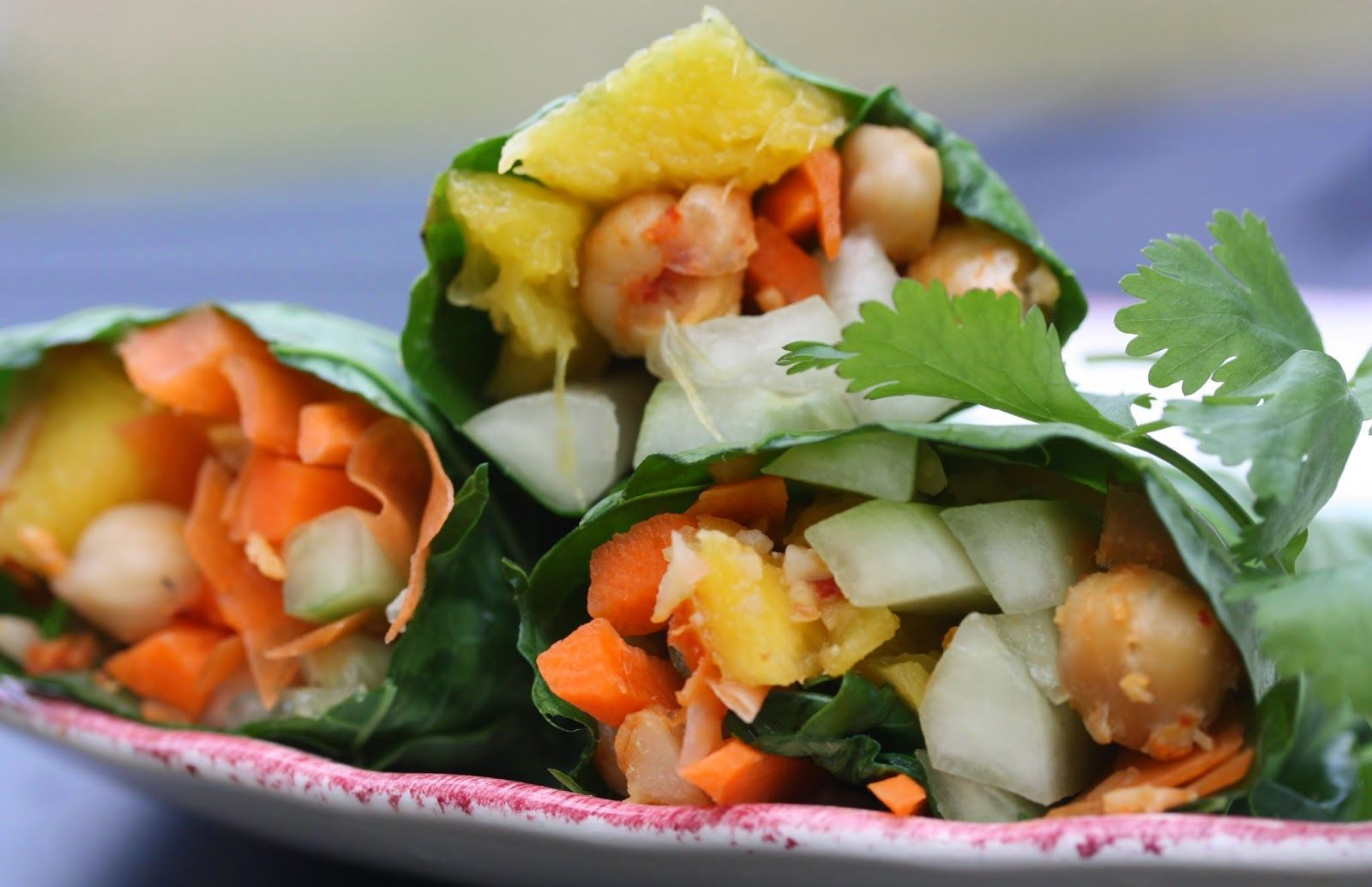 Best of Long Island and Central Florida: Thai Chickpea Collard Wraps with Peanut Sauce
