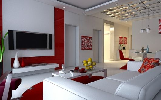 Red White Living Room Design Ideas With Tv Plasma And Asoda Furniture