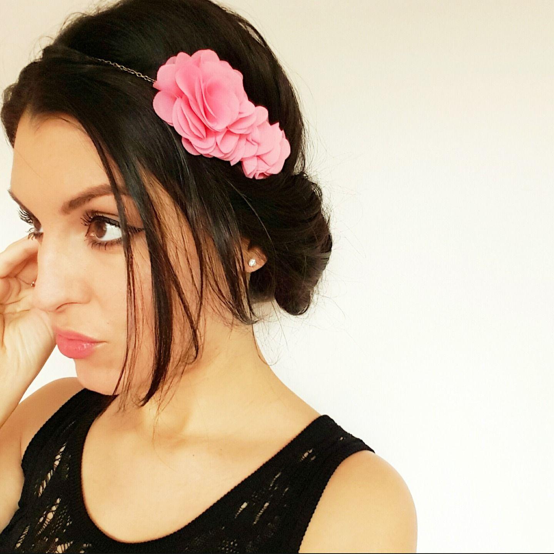 Headband bijou cheveux fleurs rose et bronze élégant