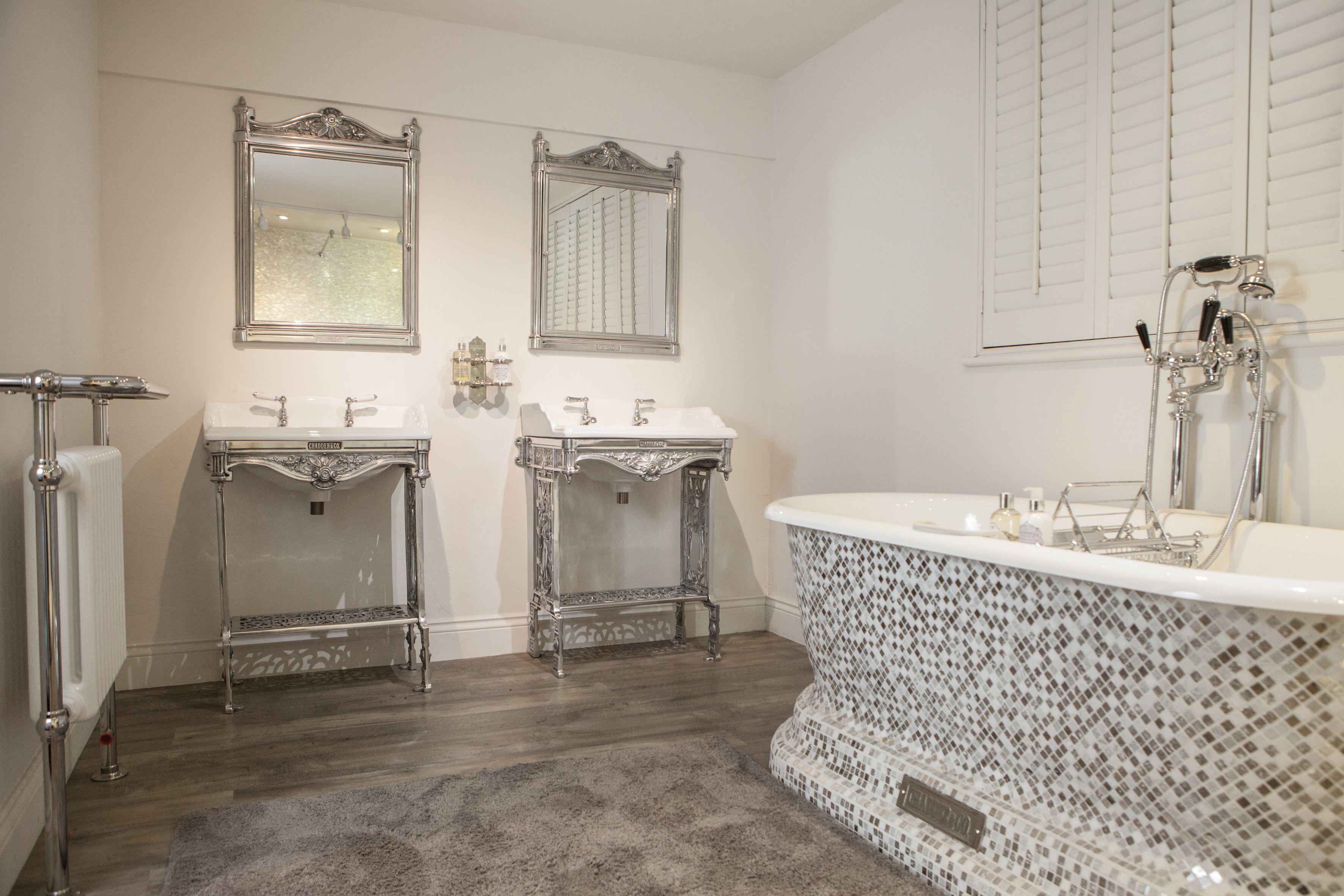 chadder bathroom, churchill mosaic bath, chrome mosaic silver and