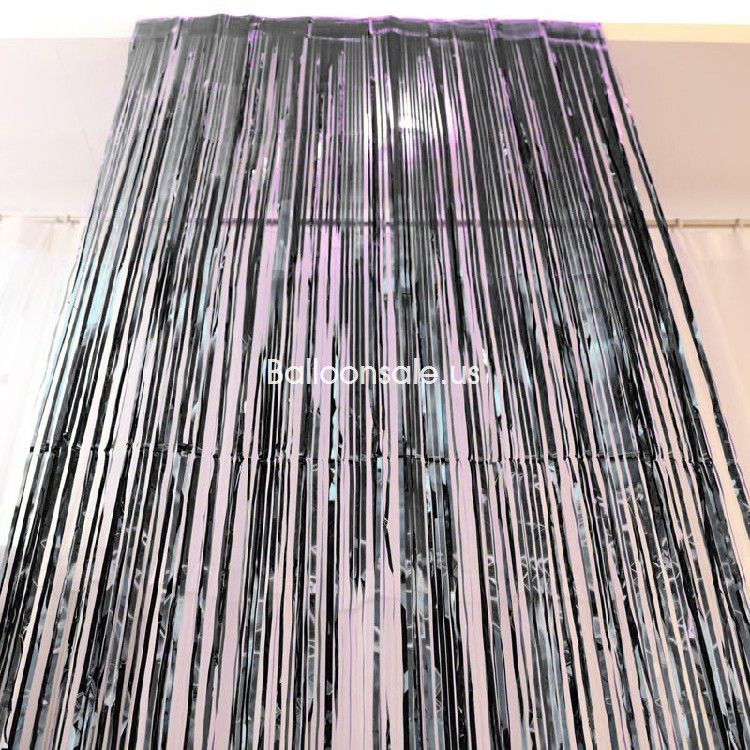 3 Ft X 8 Ft Black Foil Fringed Door Curtain For Party Decoration