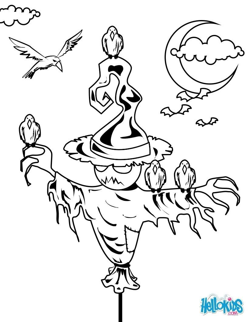 22 beautiful image of scarecrow coloring page mit