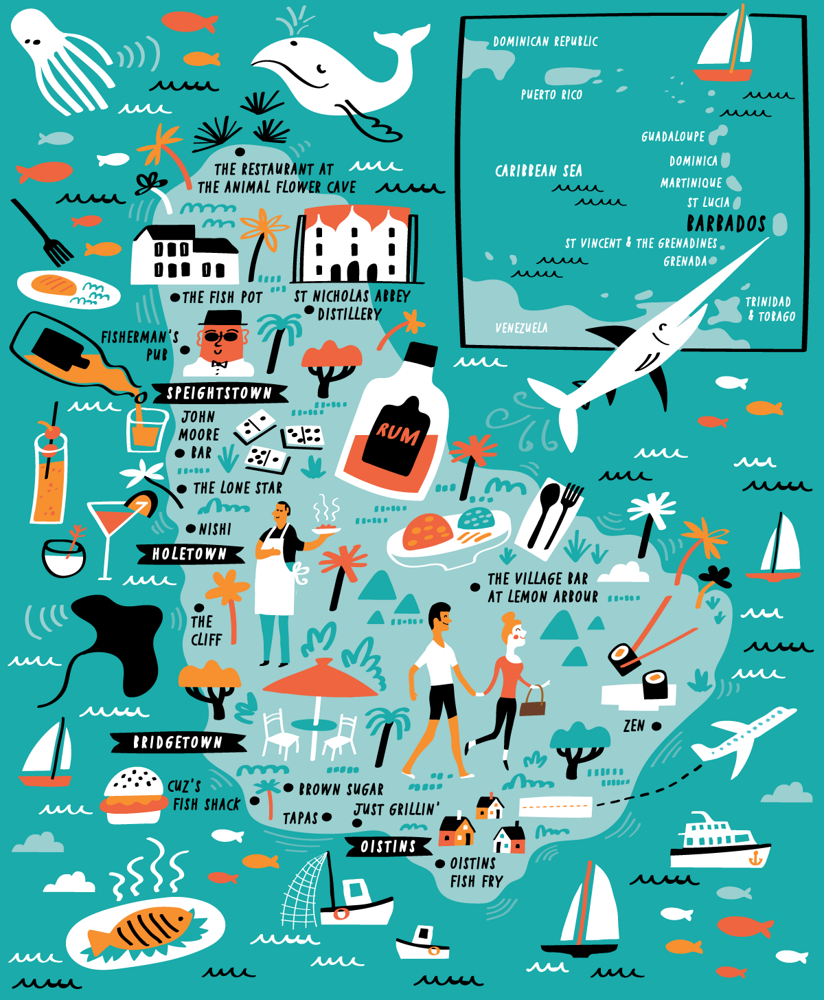 Illustrated Map of Barbados by Nate Padavick | Map, Life map ...