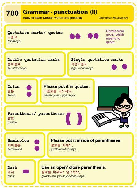 780 Learn Korean Hangul: Grammar - punctuation (II) | Korean ...