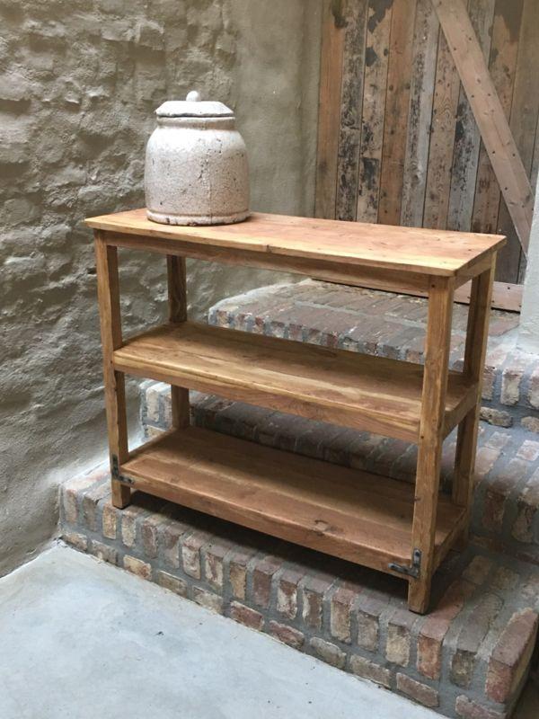 Free oud houten schap rek schoenenrek kastje planken keukenrek kast planken landelijk bakkersrek - Kallax wandmontage ...