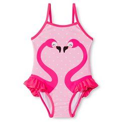 Toddler Girls' 1-Piece Polka Dot Flamingo Swimsuit - Pink