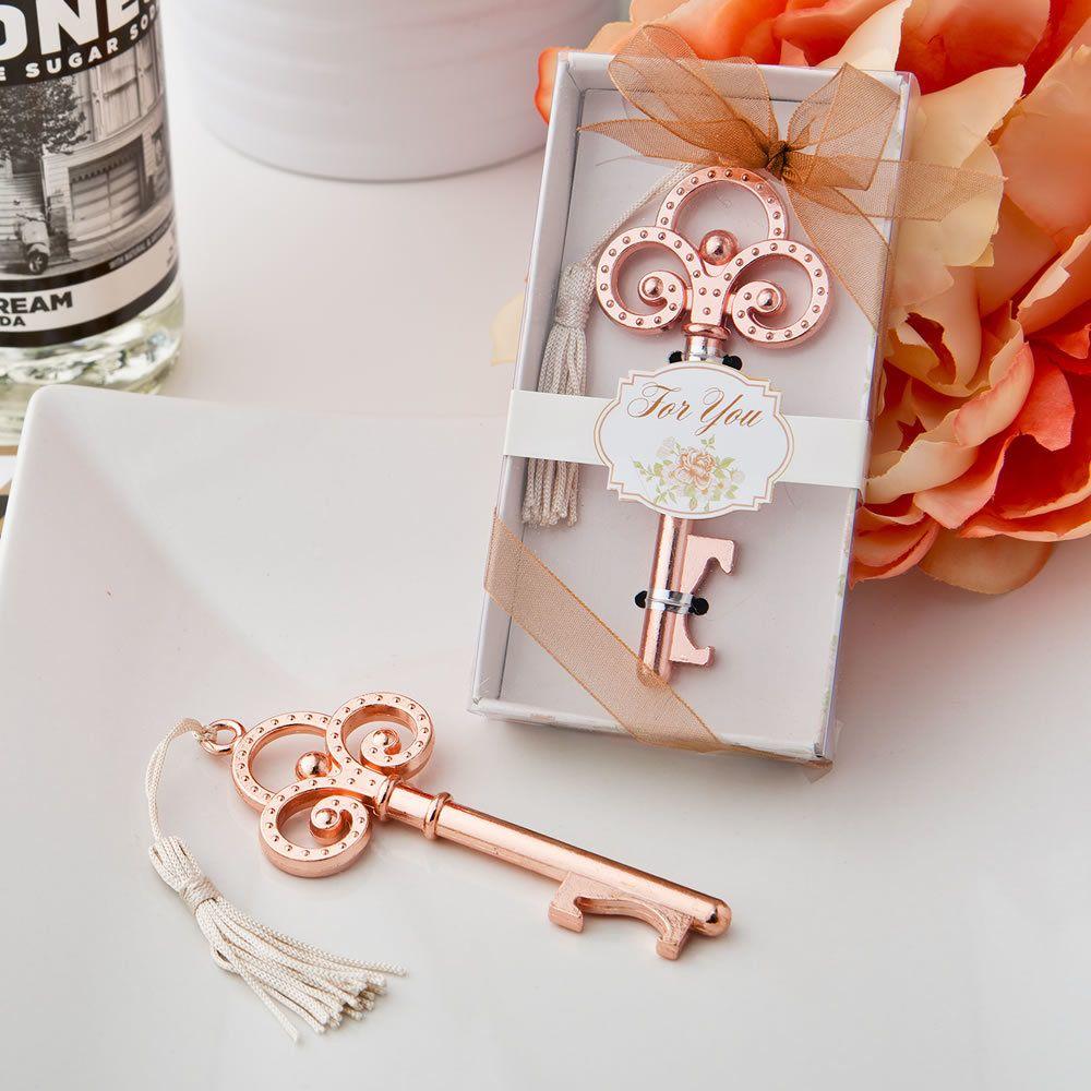 100 Rose Gold Vintage Skeleton Key Bottle Opener Wedding Favors ...