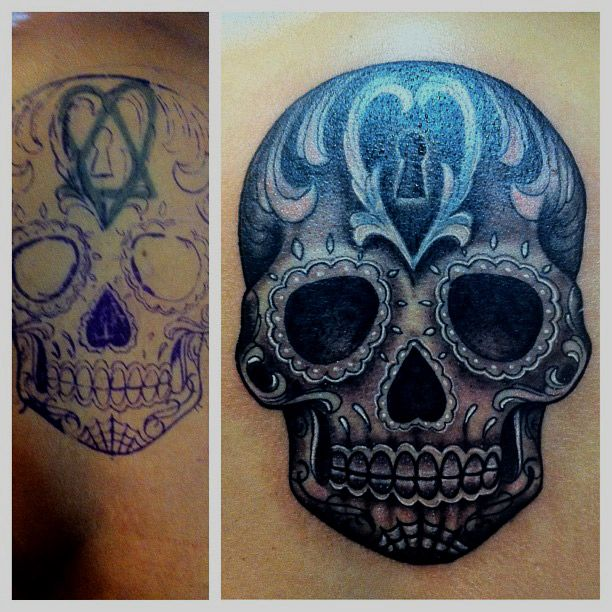 Black And Grey Sugar Skull Cover Up Tattoo Jpg 612 612 Sugar Skull Tattoos Skull Tattoo Design Black And Grey Tattoos