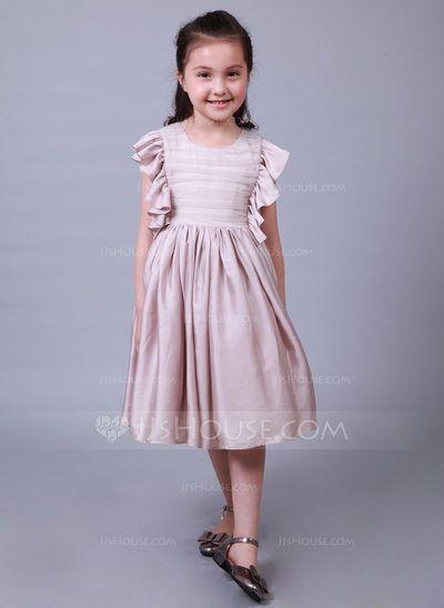5ac9e4a112  US  41.29  A-Line Princess Tea-length Flower Girl Dress - Cotton Silk-like  Short Sleeves Scoop Neck
