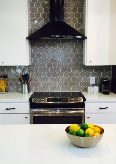 4 Hexagons In Foggy Morning With Black Patine Gray Kitchen
