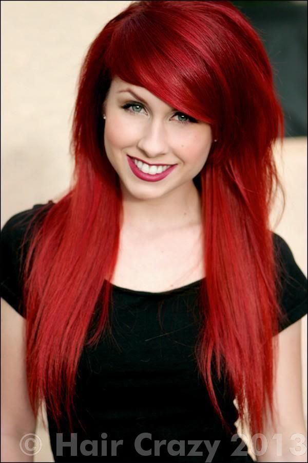 Bright Red Long Wavy Hairstyle Amazing Hair Color