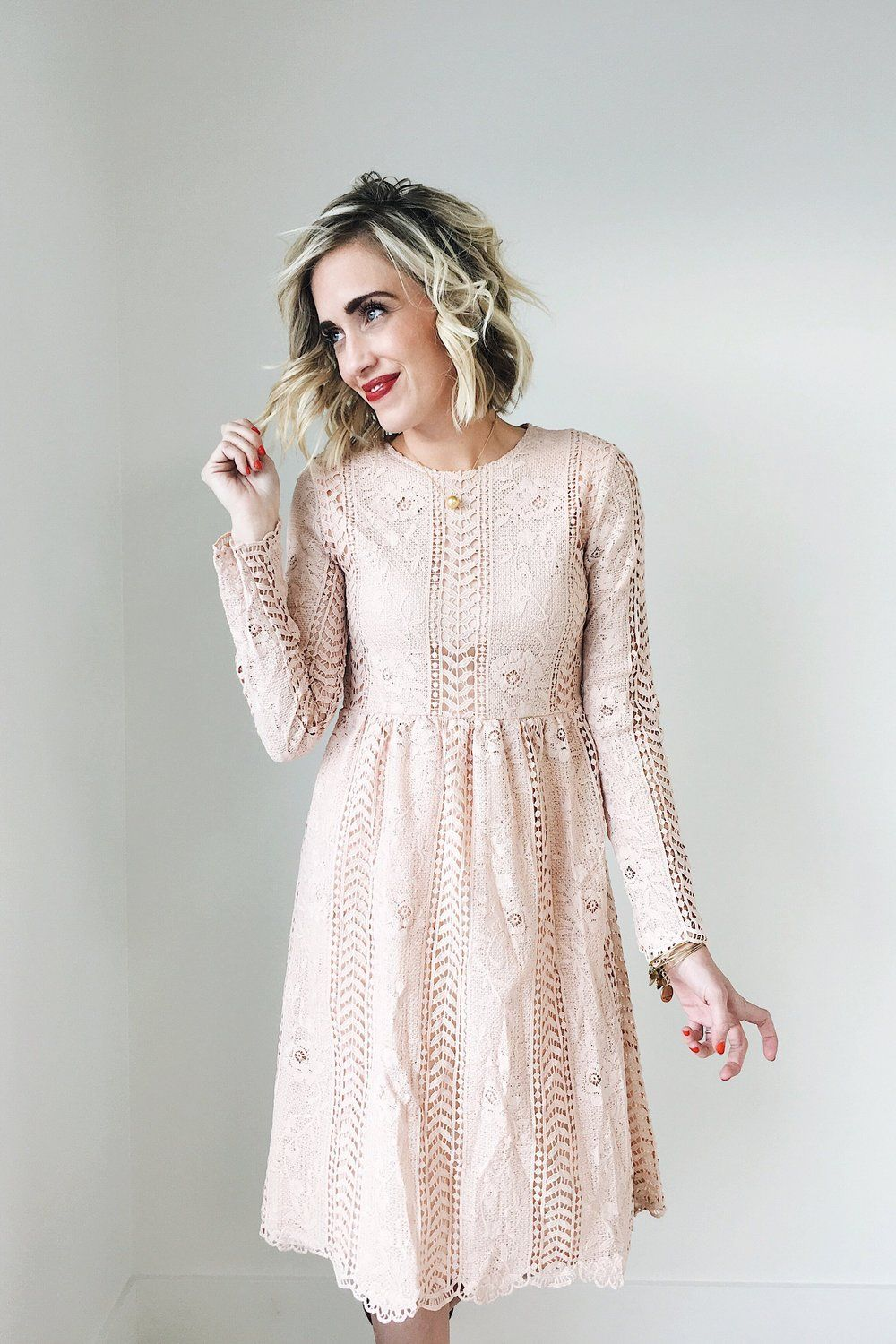3b783b56af06 Blush Lace Midi Dress Floral Lace Detailing Long Sleeve Keyhole Back Hidden  Seam Zipper Under Left Arm Fully Lined Bodice + Skirt Also Available in  Black ...