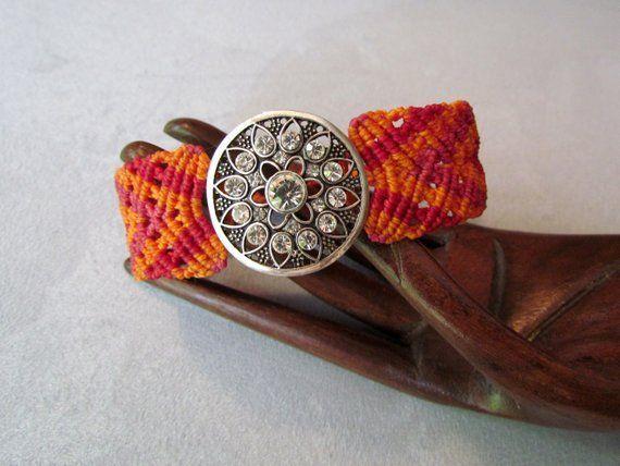 Armband  Makramee orangerot Boho Gypsy Hippie