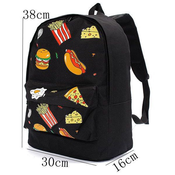 Women Food Pattern Canvas Travel Backpack Versatile Schoolbag (40 BRL) ❤ liked on Polyvore featuring bags, backpacks, canvas knapsack, canvas bag, canvas rucksack, zipper bag and print backpacks