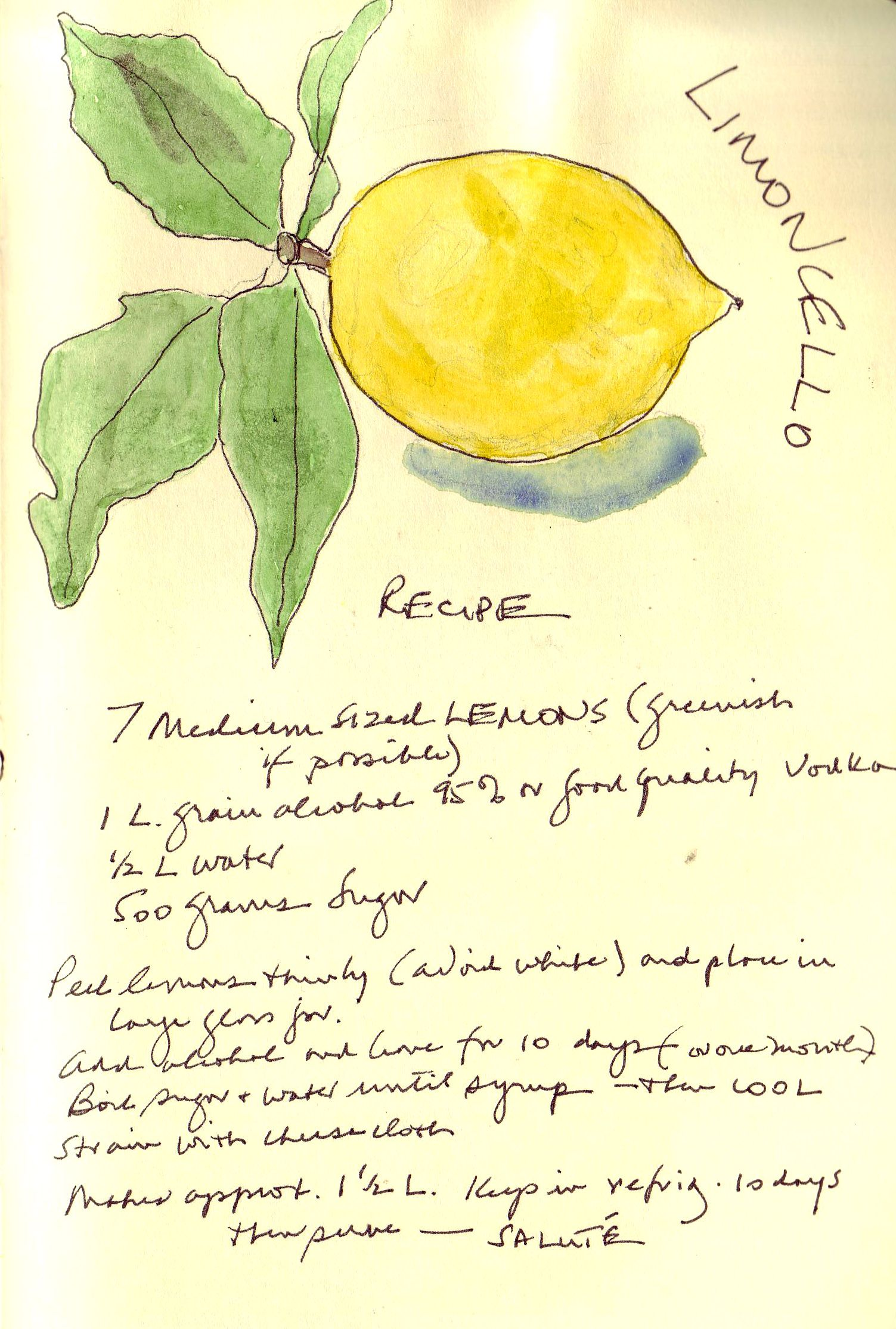 Handwritten Recipe For Limoncello Handwriting Recipe Homemade Simplylemon Drink Italy Italia Lemoncello Limoncello Recipe Lemons