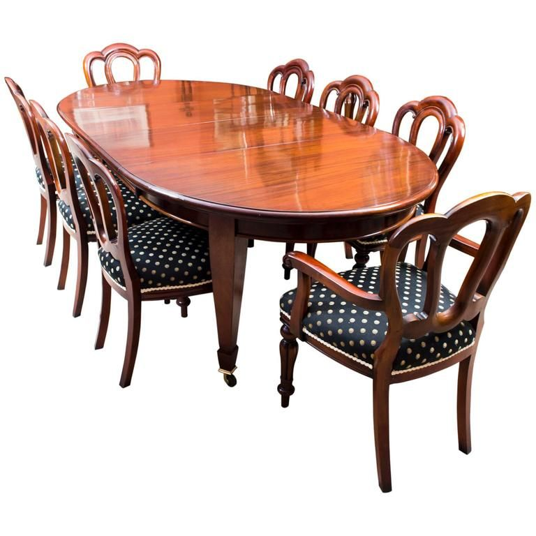 Antique Edwardian Dining Table Eight Chairs Circa 1900