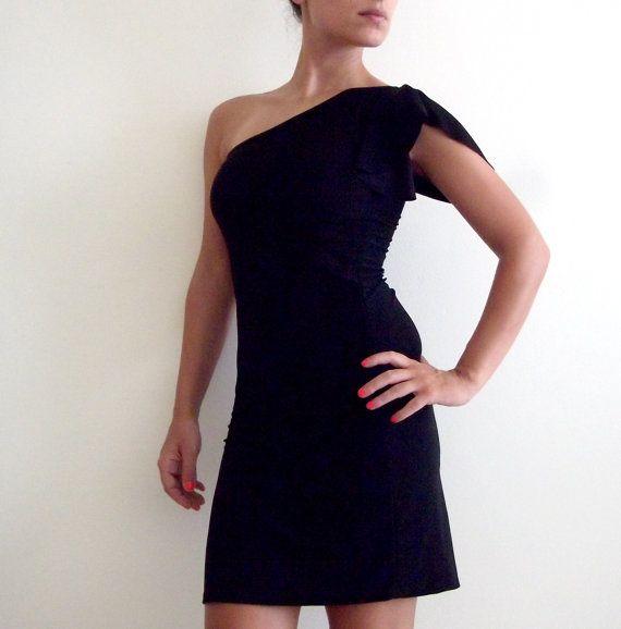 Women Black Dress/ One Shoulder Bridesmaid Dress/ Made To