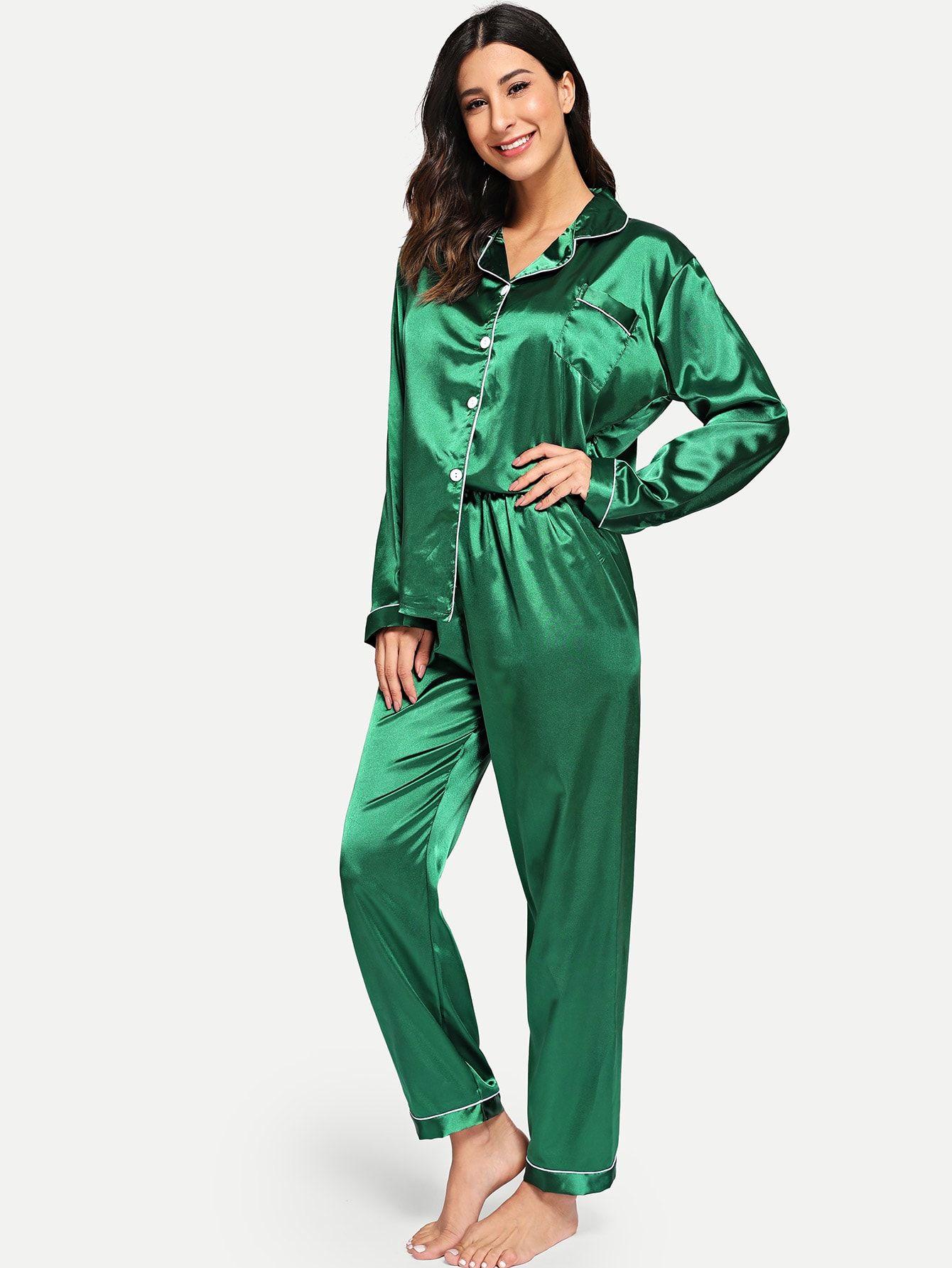 dd623ef81e Contrast Binding Button Up Satin Pajama Set Button Binding Contrast ...