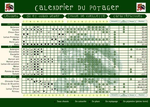 photo Le calendrier du potager