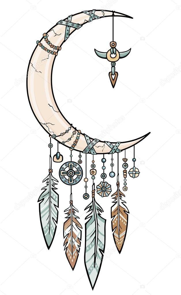 Talismán indio nativo americano atrapasueños con plumas. Cuerno mágico una media luna. Diseño étnico, boho chic, símbolo tribal. Ilustración vectorial aislada sobre fondo blanco .