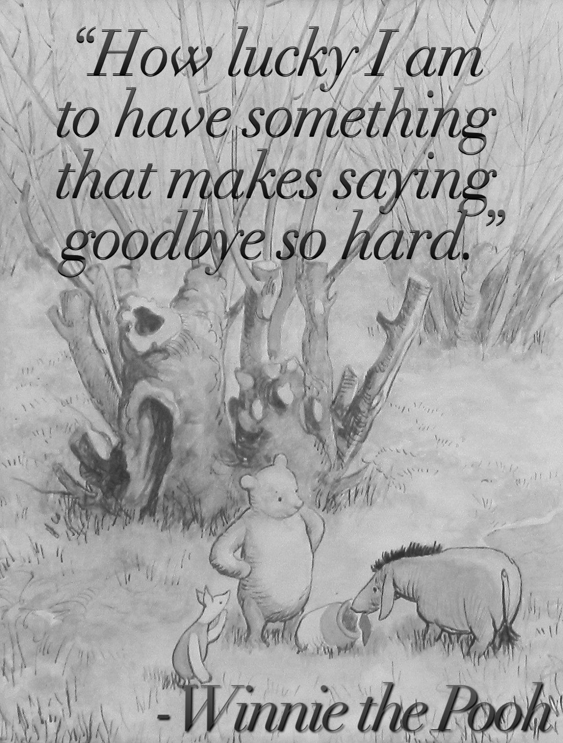 """""""How lucky I am to have something that makes saying goodbye so hard."""" Winnie the Pooh  Try to keep perspective!"""