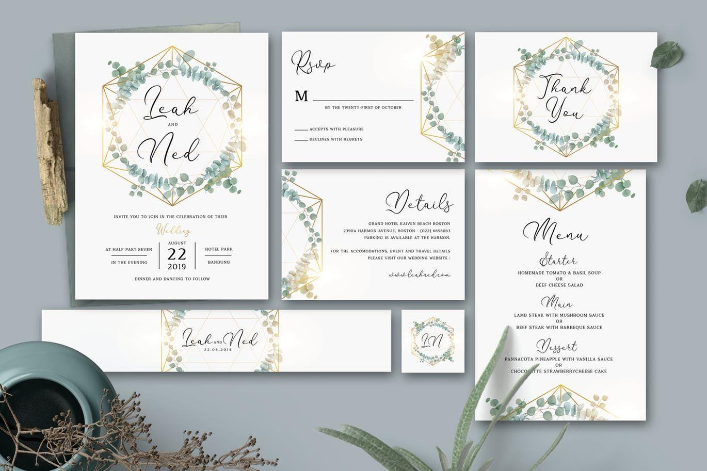Eucalyptus Wedding Invitation By Aarleykaiven On Envato Elements Acrylic Wedding Invitations Wedding Invitation Size Wedding Invitation Card Template
