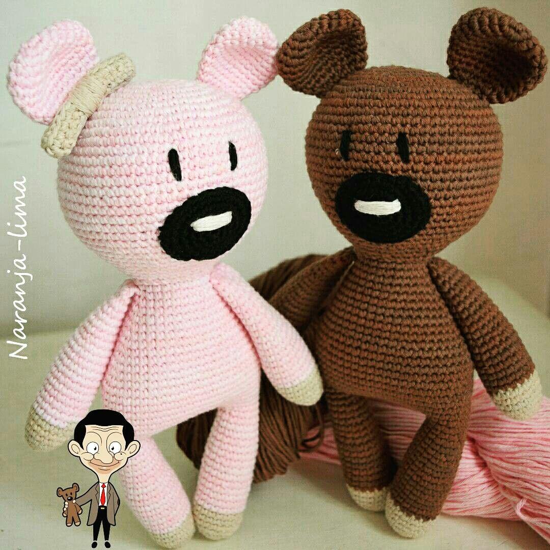 Oso Teddy Mr. Bean amigurumi. Patrón de Blue Rabbit Crochet ...