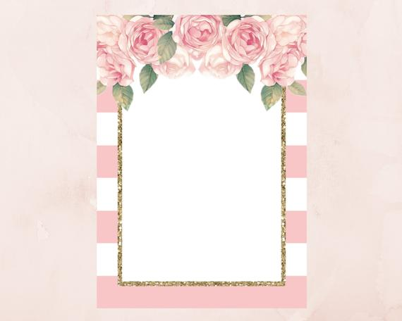 DIY Blank Pink Striped Floral Invitation Template With Gold Glitter