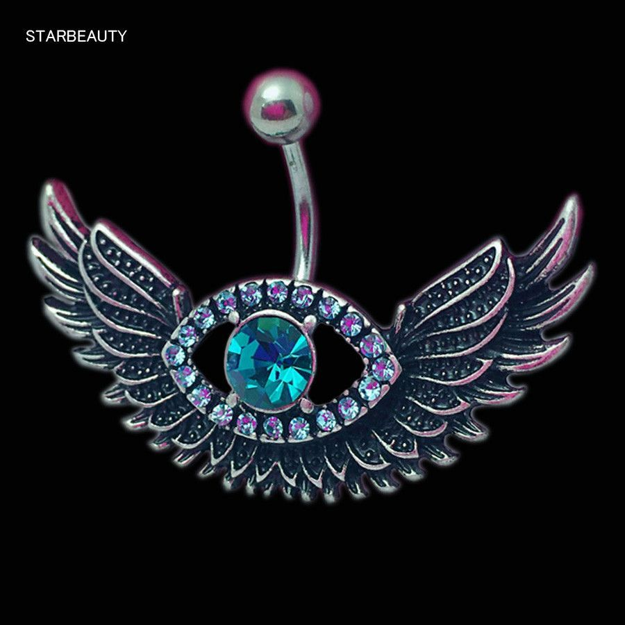 Hot Angel Wing Navel Piercing Ombligo Sexy Blue Crystal Eye Belly Button Rings Body Jewelry Piercing Nombril Pircing Belly Ring