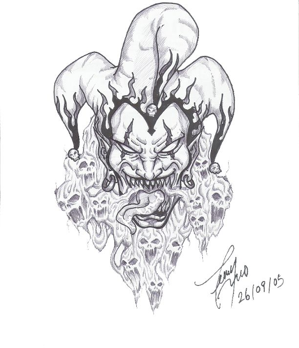 Ah This Is Jester The Deadly Joker I Kreated This Character For Vampire Dark Ages A Malkavian Krazy Ki Jester Tattoo Sleeve Tattoos Evil Skull Tattoo