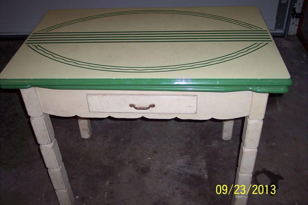 Vintage White Green Porcelain Enamel Top Kitchen Table Vintage Kitchen Table Top Kitchen Table Kitchen Table