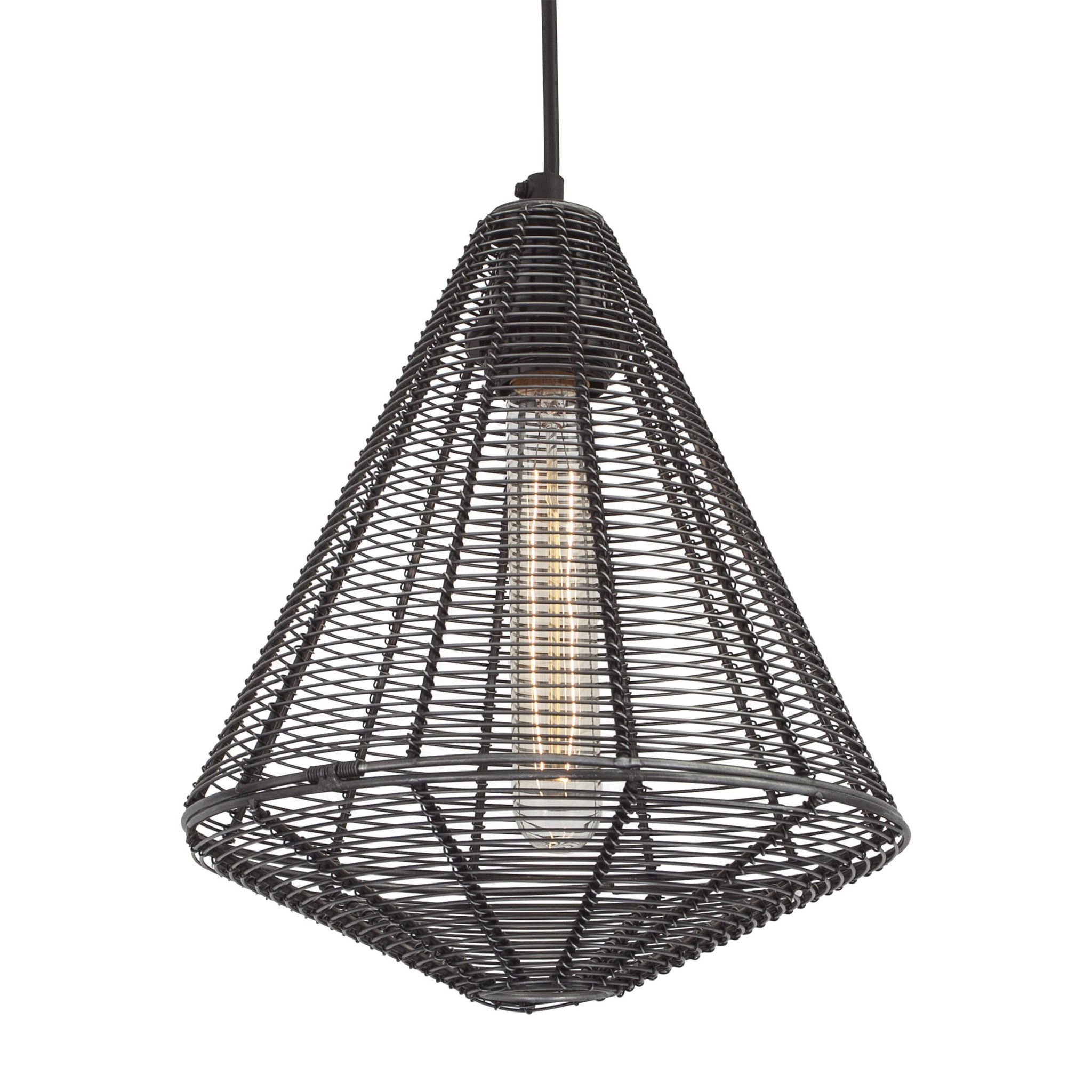 Handcrafted Wire Cage Pendant - 9 Inch - Cone | Interiors